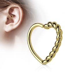 Piercing cartilage daith coeur tressé plaqué or