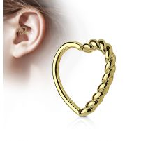 Piercing cartilage daith coeur tressé plaqué or