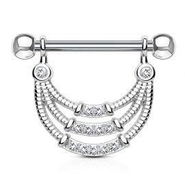 Piercing téton pendentif gemmes trois lignes