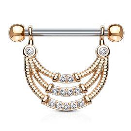 Piercing téton pendentif gemmes trois lignes plaqué or rose