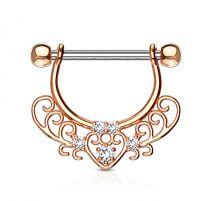 Piercing téton pendentif coeur filigrane plaqué or rose
