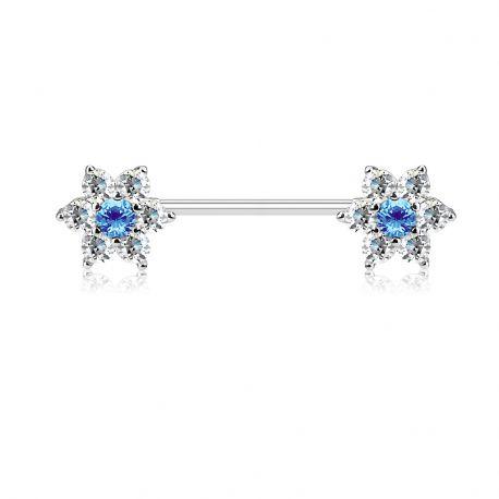 Piercing téton double fleurs gemmes turquoise