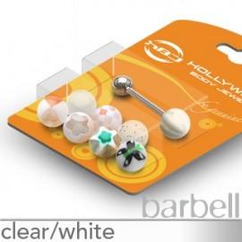 Pack Piercing Langue Boules Acrylique Blanc