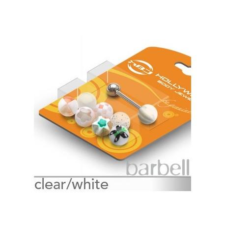 Pack Piercing Langue Boules Acrylique Blanc - Bijou Piercing Langue