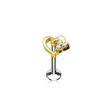 Piercing labret lèvre coeur doré strass