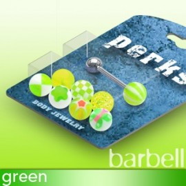 Pack Piercing Langue Boules Acrylique Vert
