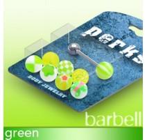 Pack Piercing Langue Boules Acrylique Vert - Bijou Piercing Langue