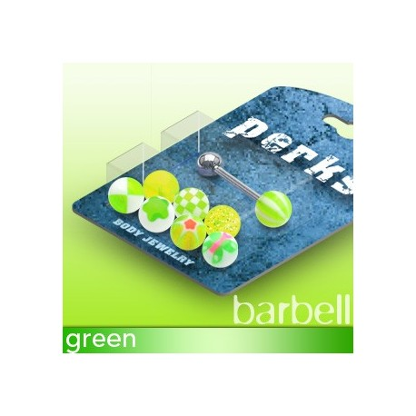 Pack Piercing Langue Boules Acrylique Vert - Bijou Piercing Langue