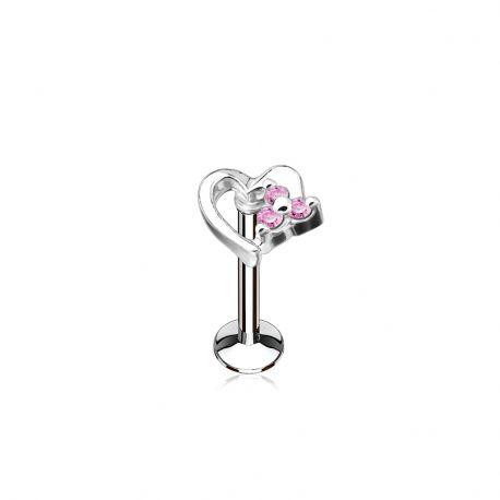 Piercing labret lèvre coeur strass roses