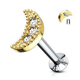 Piercing labret lèvre croissant de lune doré