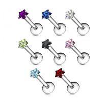 Piercing Labret acier avec Gemme en étoile serti par griffes