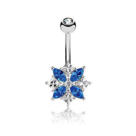 Piercing nombril fleur gemmes marquise bleu