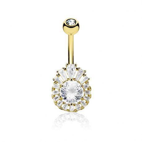 Piercing nombril plaqué or cluster gemme rond