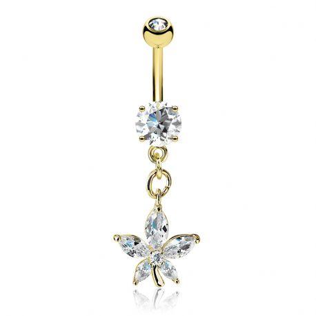 Piercing nombril plaqué or pendentif fleur pétales marquise