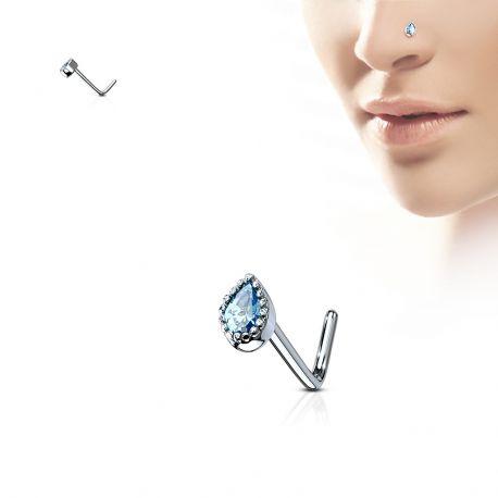 Piercing nez tige en L gemme larme turquoise