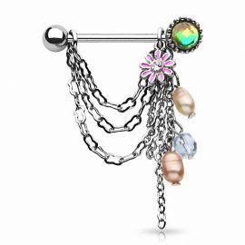 Paire piercing téton perles fleur