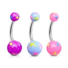 Lot de 3 Piercing Nombril Boules Explosion d'étoiles