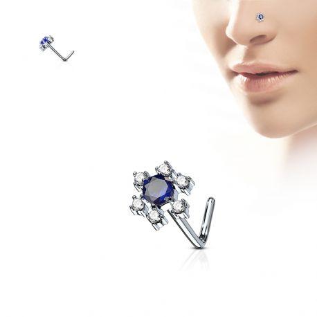 Piercing nez tige en L fleur pierre bleue
