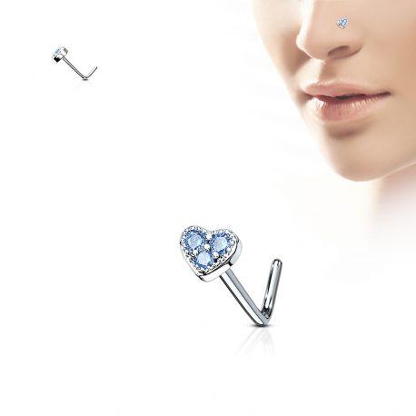 Piercing nez tige en L coeur trois strass turquoise