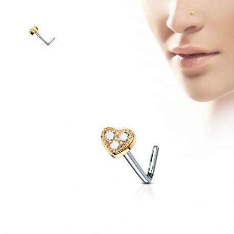 Piercing nez tige en L coeur rosé trois strass blanc