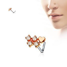 Piercing nez tige en L coeur rosé et quatre strass
