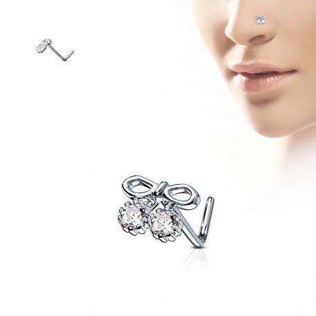 Piercing nez tige en L noeud et gemmes