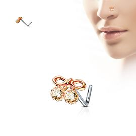 Piercing nez tige en L noeud or rose et gemmes
