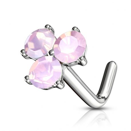 Piercing nez tige en L trois cristaux roses