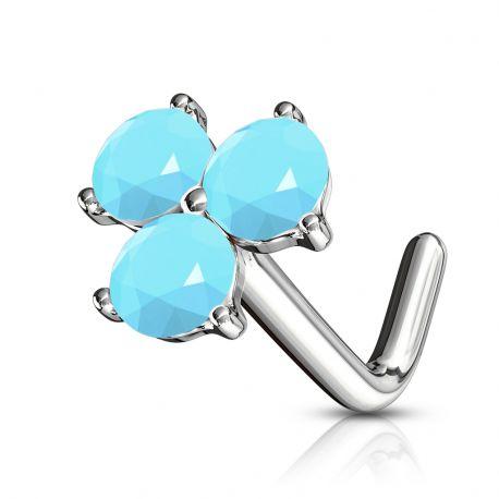 Piercing nez tige en L trois cristaux turquoises