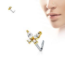 Piercing nez tige en L papillon doré gemmes blancs