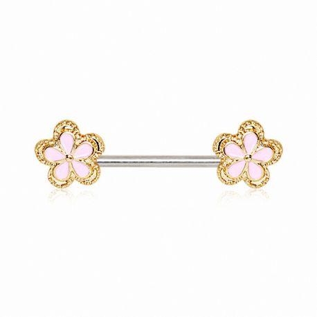 Piercing téton fleur rose et doré