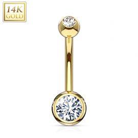 Piercing nombril Or jaune 14 carats gemmes