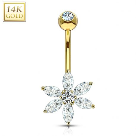 Piercing nombril Or 14 carats fleur pétales