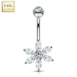 Piercing nombril Or blanc 14 carats fleur pétales
