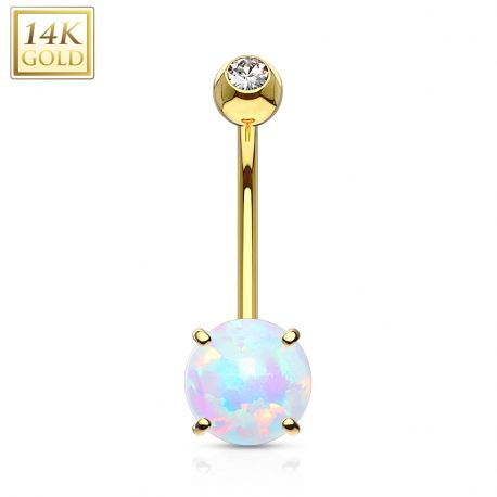 Piercing nombril Or jaune 14 carats opale 6 mm