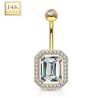 Piercing nombril Or 14 carats rectangulaire