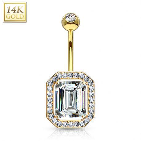 Piercing nombril Or 14 carats rectangulaire