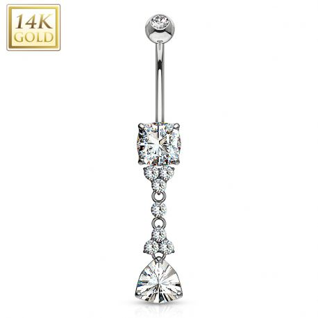 Piercing nombril Or Blanc 14 Carats pierre triangle