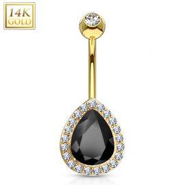 Piercing nombril or 14 carats poire noire