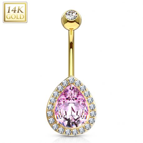 Piercing nombril or 14 carats poire rose