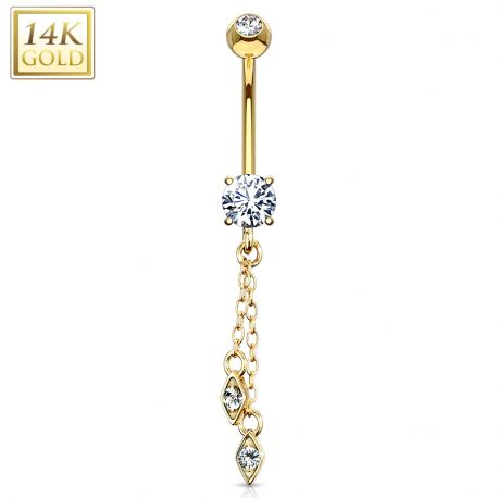 Piercing nombril or 14 carats chaines