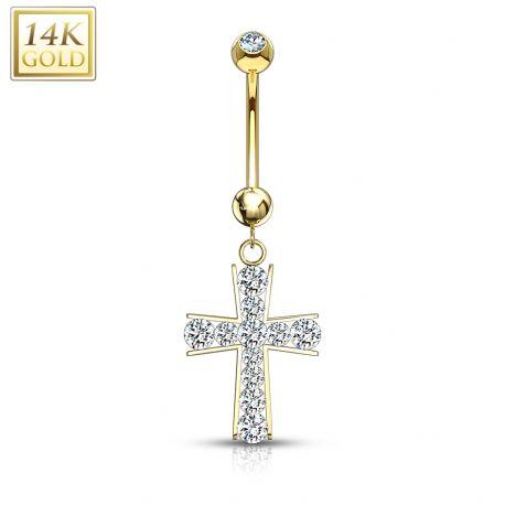 Piercing nombril Or 14 carats barre croix