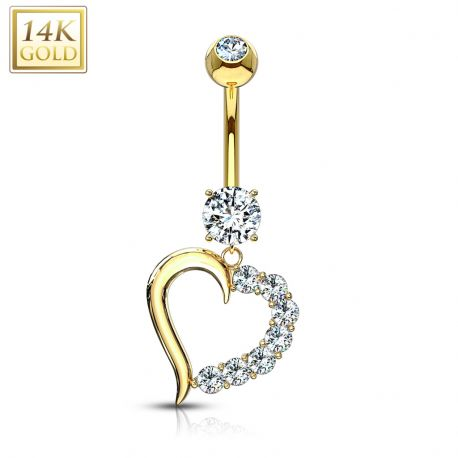 Piercing nombril Or 14 carats Coeur Gemmes