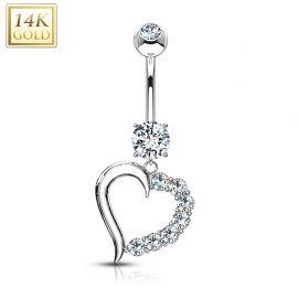 Piercing nombril Or blanc 14 carats Coeur Gemmes