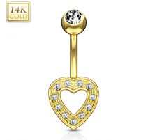 Piercing nombril Or Jaune 14 Carats coeur