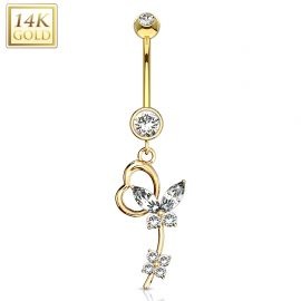 Piercing nombril Or jaune 14 carats papillon loop