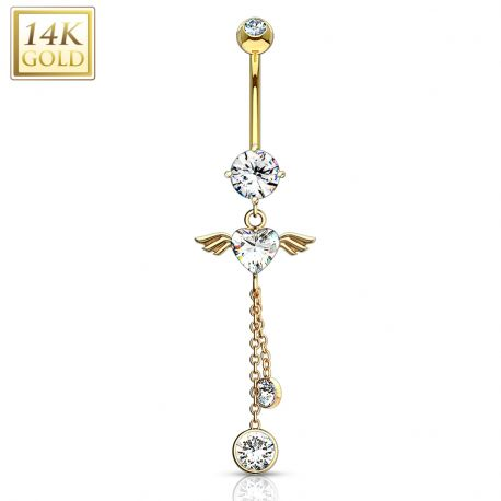 Piercing nombril Or 14 Carats Ailes d'Ange