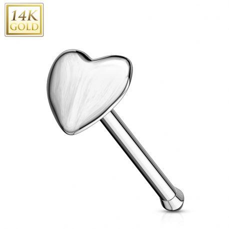 Piercing nez tige droite Or Blanc 14K Coeur - Bijou Piercing Nez