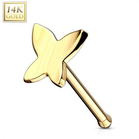 Piercing nez tige droite Or 14K Papillon