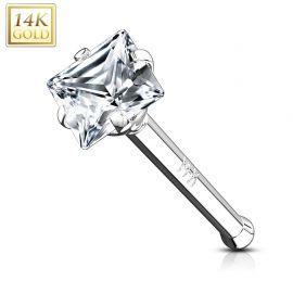 Piercing nez tige droite Or blanc 14 carats gemme carré